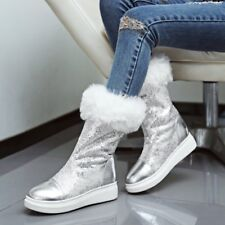 Korean Womens New Sequin Mid Calf Boots Winter Round Toe Snow Flat Shoes Size