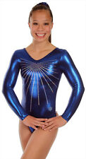NEW!! AM Blue Glitz B Gymnastics Long Sleeve Leotard by Snowflake Designs