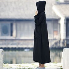 Women's Long Sleeve Cotton Linen Hooded Frog Button Long Coat Witch Robe Dress