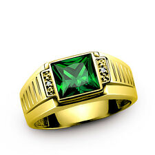 Men's 18K SOLID GOLD Ring Natural Diamonds and Emerald Gemstone Statement Ring