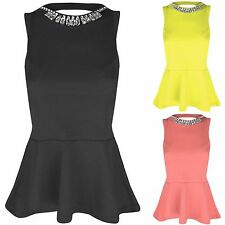 WOMENS NECKLACE PEPLUM FRILL TOP SLEEVELESS VEST LOOK BODYCON OPEN BACK TOPS