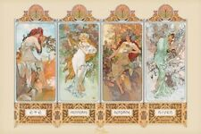 New Seasons, 1896 By Alphonse Marie Mucha Poster