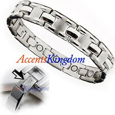 ACCENTS KINGDOM MENS SURGICAL STAINLESS STEEL MAGNETIC GOLF BRACELET J