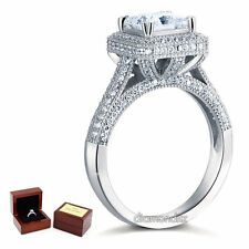 Sterling 925 Silver Wedding Engagement Ring 1.5 Ct Princess Lab Created Diamond