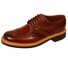 GRENSON SHOES ARCHIE MENS TAN LEATHER BROGUES