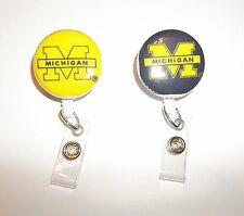 University of Michigan U of M Retractable ID Name Badge Holder Reel clip on