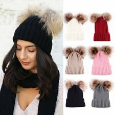 Braided Crochet Wool Knit Beanie Beret Ski Ball Cap Pom Womens Winter Warm Hat
