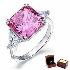 925 Sterling Silver Wedding Bridal Ring 8 Ct Princess Pink Lab Created Diamond