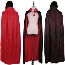 Halloween Knitted Fabric Cloak Cape Medieval Costume Witch Wicca Robe Red Black