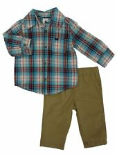 Carters Infant Boys 2-Piece Blue Plaid Shirt & Khaki Pants Set