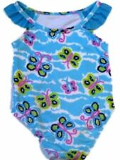 Bunz Kids Infant Girls Blue 1 Piece Swim Suit Ruffle Butterfly Bathing