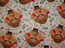 New Thanksgiving Turkey Cotton Fabric Sold by the Half Yard BTHY