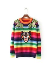 Womens Fall Winte Colorful Striped Floral Cat Embroidered Knitted Jumper Sweater