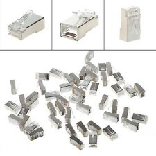 50/100Pcs CAT5 RJ45 8-Pin Shielded Modular Plug Ethernet Network Cable Connector