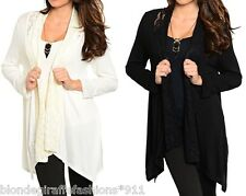 Lace Shawl Collar Open Front Long Sleeve Cover-Up Cardigan S M L