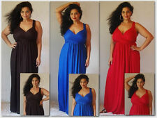 Red black or blue maxi dress jersey stretched M L XL 1X 2X FASHION DESIGNER