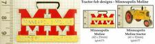 Minneapolis Moline tractor decorative fobs, various designs & keychain options