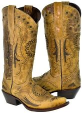 Womens Sand Brown Leather Embroidered Inlay Cowboy Boots Western Snip Toe