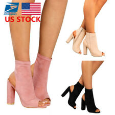 Women's Block High Heels Shoes Ladies Solid Peep Toe Side Zipper Ankle Boots