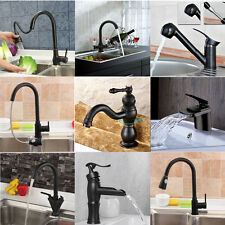 Oil Rubbed Bronze Bathroom Kitchen Basin Sink Faucet Waterfall Pull Out Taps