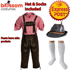 K407 Authentic Bavarian Dark Brown Suede Lederhosen Oktoberfest Beer Costume Hat