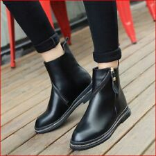 Womens Zipper Pointy Toe Formal Black Pure Ankle Boots Flats Fashion Autum Shoes