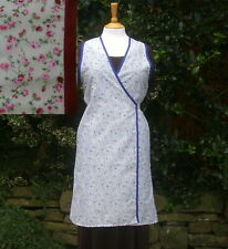 1930-1940's style wartime crossover apron re-enactment, kitchen use blue floral