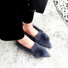 Fashion Womens Suede Mink Hair Furry Slides Low Heels Slip On Pointed Toe Shoes