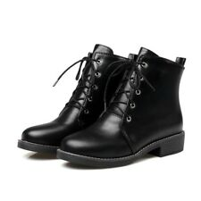 Womens Casual Lace Up Ankle Boots Low Heels Fashion Flats Shoes Plus Size