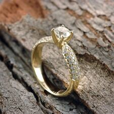 14/18K Yellow Gold 1.32 CT H VS1 Round Diamond Engagement Ring Enhanced