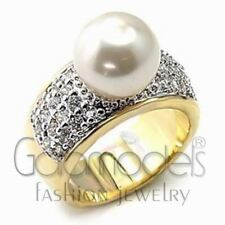 A988 WHITE SIMULATED PEARL 925 SILVER 14K GOLD PLATED, WHITE GOLD PLATED RING