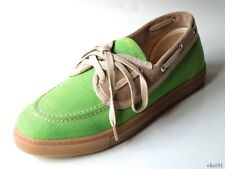 NIB $395 mens FACONNABLE green canvas beige suede boat shoes loafers comfortable