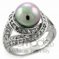A2144 SIMULATED GRAY PEARL 925 STERLING SILVER 14K WHITE GOLD PLATED RING