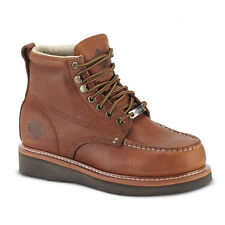 """Mens Light Brown 6"""" Mocc Toe Leather WP Work Boots BONANZA 630 Size 6-12 (D, M)"""