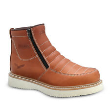 """Mens Light Brown 6"""" Mocc Toe Leather WP Work Boots BONANZA 655 Size 6-13 (D, M)"""