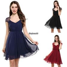 Women V-Neck Cap Sleeve Floral Lace Casual Chiffon Pleated Dress EHE8
