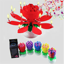 Birthday Lotus Flower Cake Candle Decoration Blossom Musical Rotating Magic Gift