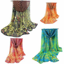 Women Peacock Chiffon Scarf Long Soft Shawl Silk Wrap Neck Warm Stole Stylish  H