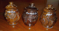 Salt and Pepper Shaker & Toothpick Holder Carved Wood Village Scene Plastic Cap