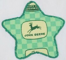 Vintage 1950's Dish Drying Towel w/ 4 Leg JOHN DEERE Green Fabric Star Applique