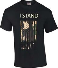 I Stand Military Camo American Flag T-Shirt NFL Anthem Patriotic Respect