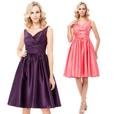 Vintage Formal Cocktail Ball Gown Evening V-Neck Satin Homecoming Prom Dress