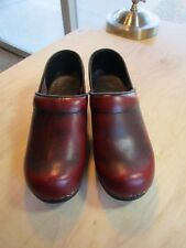 Dansko Professional Antiqued Red Leather Slip On Clogs Shoes Size Women's 36