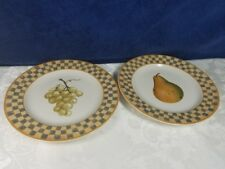 Block China COUNTRY ORCHARD Salad Plate Gray Yellow Checkered Pear or / & Grape