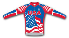 USA Flag Cycling Jersey Long Sleeve Mens Suarez U.S. Stars and Stripes Patriotic