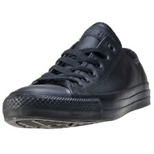 Converse All Star Leather Ox Mens Black Leather Casual Trainers Lace-up