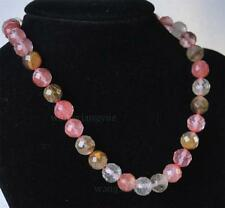 """Long 16""""18"""" 24"""" 36"""" 10mm 12mm Faceted Watermelon Tourmaline Round Beads Necklace"""