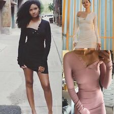 Sexy Long Sleeve One Off Shoulder Button Bodycon Solid Color Mini Dress Women