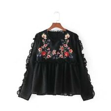 Womens Black Yellow White Floral Embroidered Dotted Mesh Blouse Tops Shirt SML