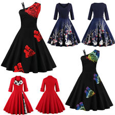 Plus Size Women Vintage 50s 60s Swing Dress Evening Party Cocktail Retro Dress